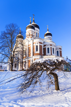 sickle: Alexander Nevsky Cathedral in Tallinn in the winter, Estonia