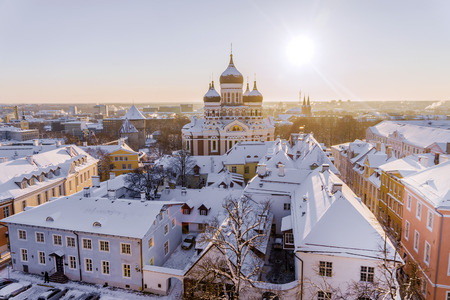 Alexander Nevsky Cathedral in Tallinn in the winter, Estonia