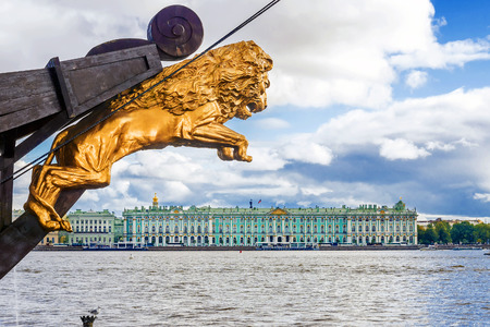 view of the Winter Palace (Hermitage) of the Niva in the frame of the sailing vessel. St. Petersburg. Russia
