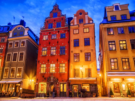 Christmas in Stockholm. Old colorful houses on the square Stortorget in Gamla Stan 版權商用圖片