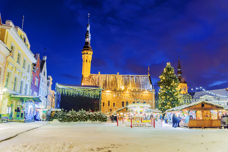 town hall square: Christmas in Tallinn. Christmas Fair at Town Hall Square Stock Photo