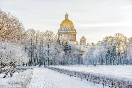 isaac s: Winter view of St. Isaacs Cathedral to St. Petersburg Editorial