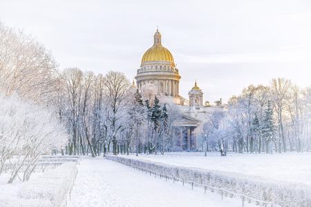 Winter view of St. Isaacs Cathedral to St. Petersburg Editorial