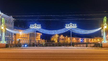 Christmas St. Petersburg. Decoration Green Bridge over the River Moika on Nevsky Prospect