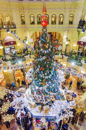 moscow russia 17 january 2016 christmas decoration store gum a large shopping