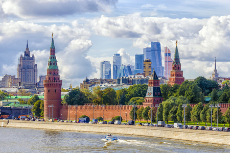 embankment: view of the Kremlin and the Kremlin embankment in Moscow