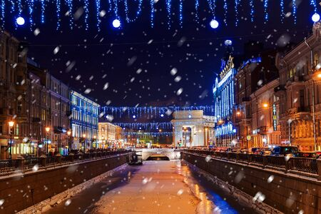 Christmas decorations in St. Petersburg, Russia Stock Photo