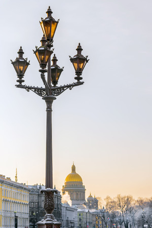 street lamp on Palace Square in St. Petersburg on the background of St. Isaacs Cathedral