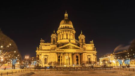 St. Isaacs Cathedral in St. Petersburg, winter night view