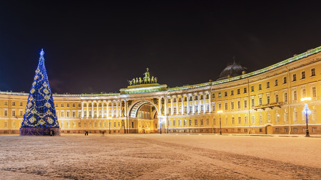 Christmas decoration of the Palace Square in St. Petersburg