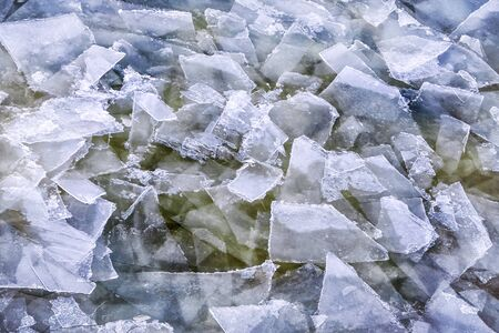 icy conditions: floes on a frozen pond