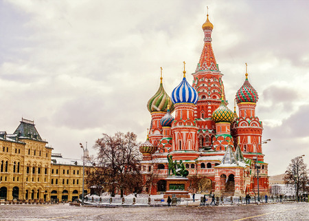 St. Basil's Cathedral in Moscow, winter view 新聞圖片