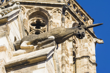 gotico: unicorn Gargoyle, Plaza del Rey. Gothic Quarter. Barcelona. Spain Foto de archivo