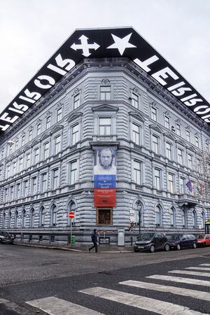 BUDAPEST, VENGRIYA- JANUARY 10, 2014: terrota budapeshte.Muzey Museum was opened in 2002 to represent the bloody periods of Hungarian history. Redakční