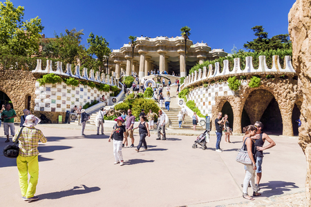 gaud: BARCELONA, SPAIN - SEPTEMBER 17, 2015:  Entrance at the Parc Guell designed by Antoni Gaud in  Barcelona