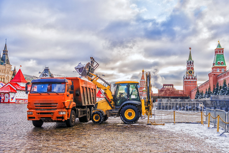 Red Square in Moscow. snow machines eliminates the effects of snowfall