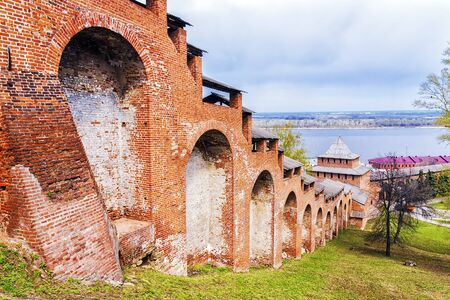 wall of old Kremlin of Nizhny Novgorod, Russia Stock Photo