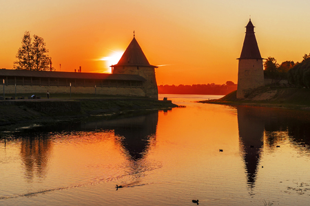 Pskov fortress at sunset. Russia Фото со стока