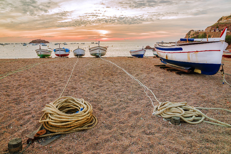 sunrise in Tossa de Mar, Spain Stock Photo