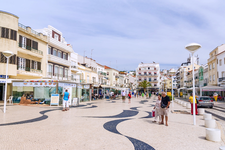 characteristic: PORTUGAL, NAZARE -  SEPTEMBER 8, 2015: Street view of Nazare. City of tourist destination on the Atlantic coast of Portugal