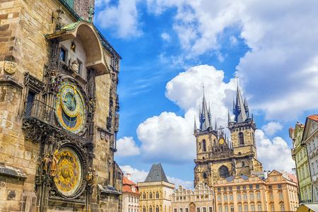 Astronomical clock in Prague, Czech Republic Imagens