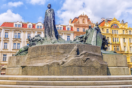 Monument to Jan Hus in the Old Town Square in Prague, Czech Republic.