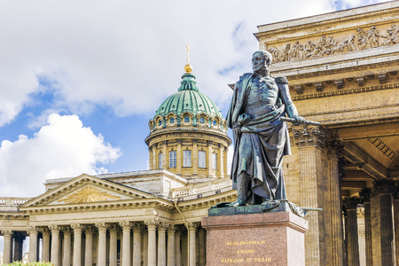 Monument to Barclay de Tolly on the background of the Kazan Cathedral in St. Petersburg Stock Photo