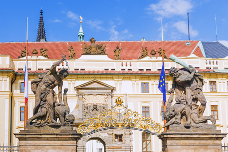 Entrance Gate of the Prague Castle, Czech Republic Banque d'images