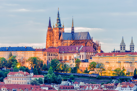View of the Prague Castle in the evening, Czech Republic Stock Photo