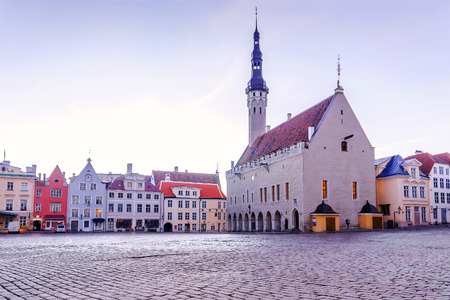 Town Hall Square in the morning in Tallinn, Estonia Stock Photo