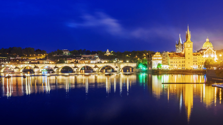 Night view of the Charles Bridge in Prague, Czech Republic