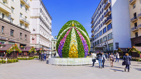 MOSCOW, RUSSIA-11 APRIL, 2017: a giant Easter egg in the Kamergersky Lane. Pedestrian tourist street of Moscow