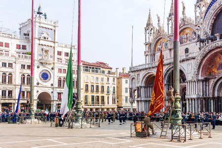 nazi flag: VENICE, ITALY-APRIL 25, 2017: military parade in the Piazza San Marco. April 25 is the day of liberation of Italy from fascism and the day of the patron saint of Venice, St. Mark Editorial