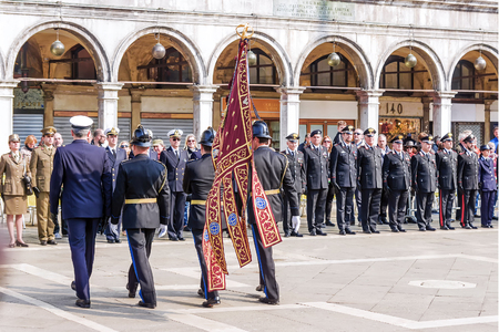 fascism: VENICE, ITALY-APRIL 25, 2017: military parade in the Piazza San Marco. April 25 is the day of liberation of Italy from fascism and the day of the patron saint of Venice, St. Mark Editorial