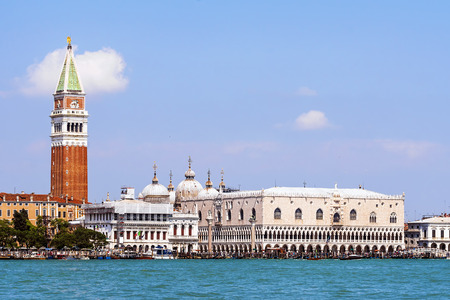 Campanile and Doges palace on Saint Marco square in Venice Stock Photo