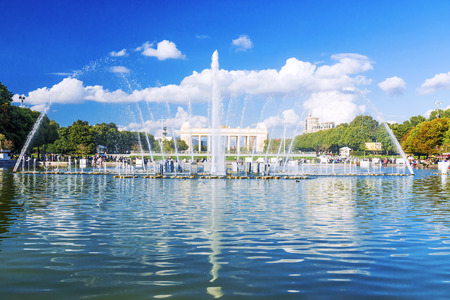 repose: Fountain in Gorky Park in Moscow Editorial