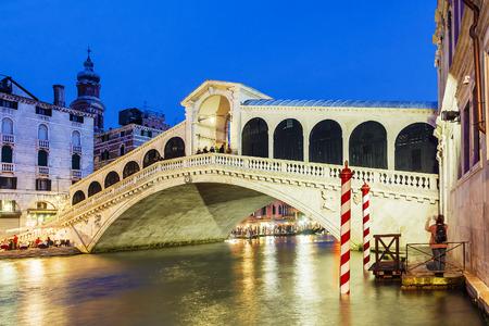 Night view of the Rialto Bridge in Venice