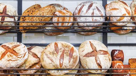bake sale: bread on the shelves Stock Photo