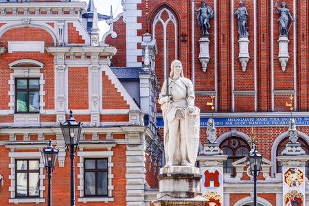 The statue of Roland is one of the key attractions of Riga, located on the Town Hall Square. Stock Photo