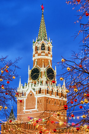Christmas in Moscow. Spasskaya Tower in festive decoration