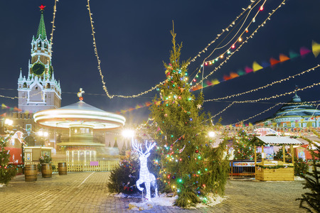 Christmas in Moscow. Christmas Fair on the Red Square Stock Photo