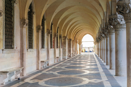 Colonnade of the Doges Palace in Venice