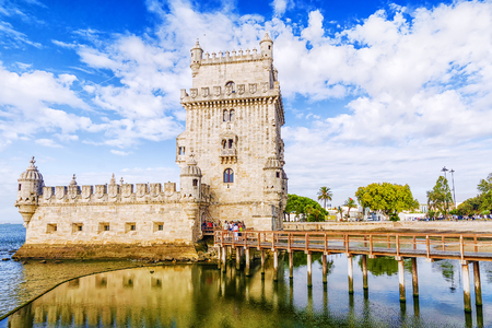 Belem tower - fortified building (fort) on an island in the River Tagus Editorial