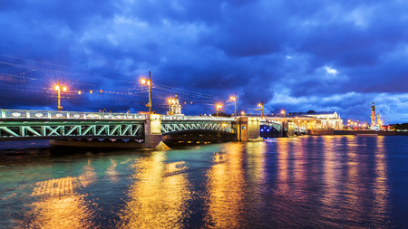 Night view of the Palace Bridge in St. Petersburg Stock Photo