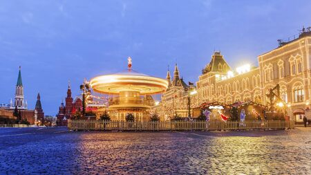 russian pattern: Christmas in Moscow. Festive decoration of Red Square in Moscow