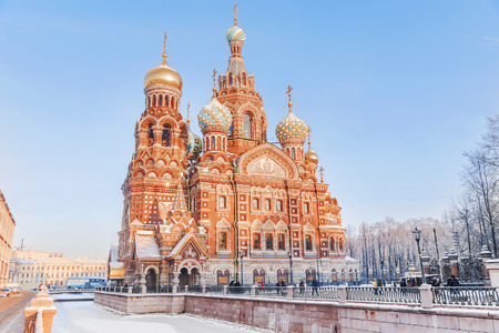 Winter view of the Church of the Savior on Blood in St. Petersburg Фото со стока - 85016732