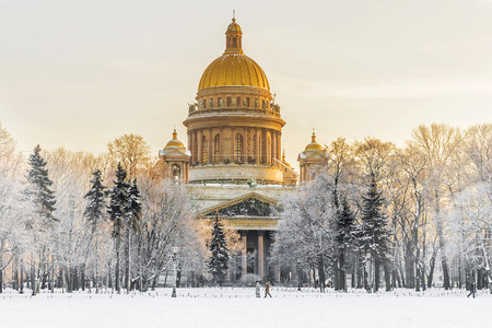 Winter view of St. Isaacs Cathedral in St. Petersburg