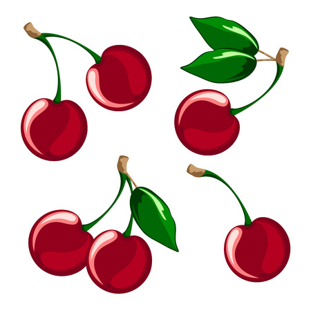 Vector illustration of ripe cherries on a white background. Berries cherries with stems and green leaves.