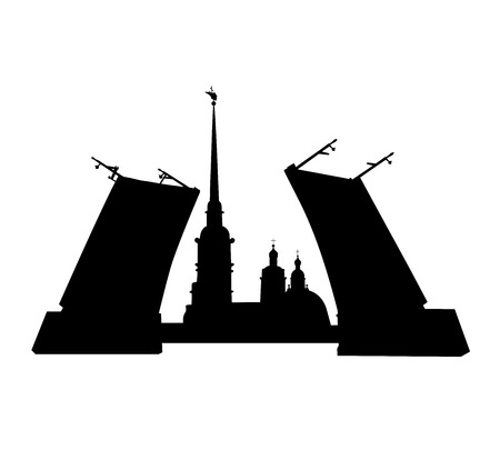 drawbridge: View of the Peter and Paul Fortress from the Neva River through the drawbridge. Sights of St. Petersburg.