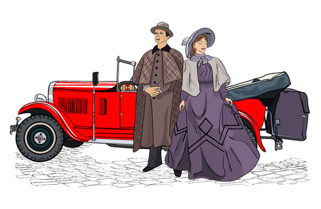 The woman and the man in vintage suits. People in retro dresses. Vector illustration.
